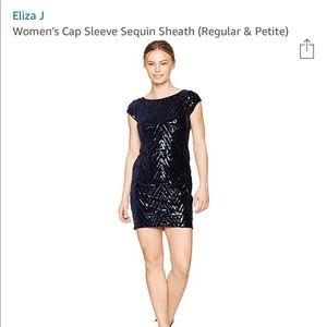 Eliza J cap sleeve sequin sheath dress